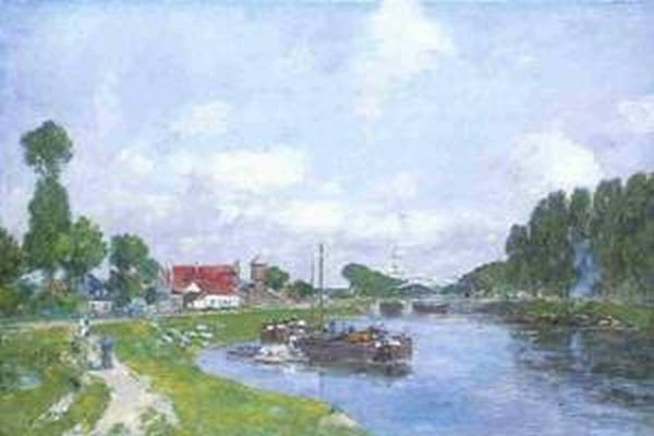 Barges on the Canal Saint Valery sur Somme 1891